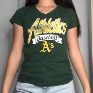 Athletic A's v neck t-shirt